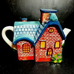 Thomas Kinkade Teapot 2005 Cozy Cottage Home Country Cabin Signed On Bottom
