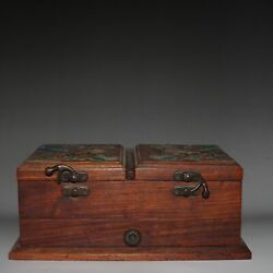 9.4 Exquisite Chinese Old Antique Set Shell Yellow Pear Jewelry Box