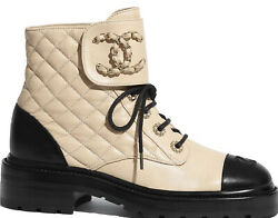 20a Black Beige Quilted Cc Chain Combat Ankle Boots 40 Bnwt