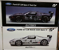Lot Set Of 2 Ford Gt Lm Race Cars Spec Ii Carbon Fiber And White 118 By Autoart