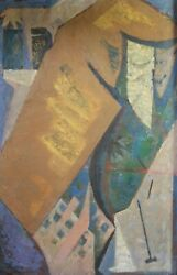 Hisashi Ohta Japan 20th C Abstract Oil Painting Japanese Noh Play C1940