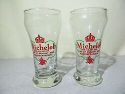 2 Vintage Michelob Beer Glasses - 1950and039s - Old Crown Logo - Rare