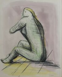 Henry Spencer Moore British 1898 - 1986 Mixed Media Drawing On Paper Figure