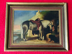 Antique Early 19th C. Oil Painting Spanish Boyandhorse And Dogs/mountainsandfishing