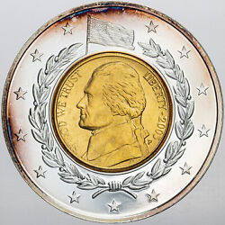 2003 Inlaid Jefferson Nickel Gold Plated Unique Choice Unc Bu Color Toned Mr