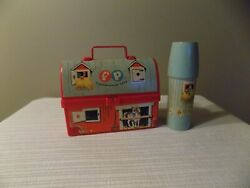Vintage 1962 Fisher Price Plastic Farm Barn Lunch Box And Thermos Set Retro Toy
