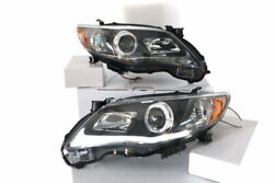 Fit Toyota 11-13 Corolla Black Led Halo Projector Headlights Driving Head Lamps