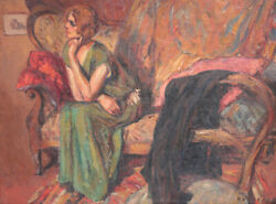 Early 20th Century Expressionistic Oil Painting On Canvas Woman Seated Framed