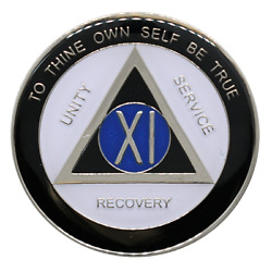 11 Year Aa Coin Anniversary Sobriety Chip Alcoholics Anonymous Sober Medallion