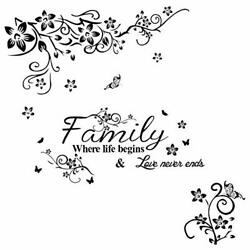 Wall Stickers Removable Flowers Wall Decals Family Letter Quote DIY Floral Vin
