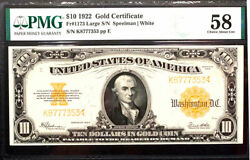 1922 10 Fr 1173 - Large Gold Certificate Pmg 58