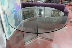 Leon Rosen For Pace Glass And Chrome Dining Table 1970s Mid-century Modern