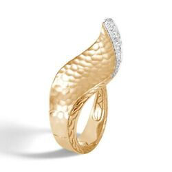 John Hardy Classic Chain 18k Yellow Gold Wave Ring With Diamonds Size 7