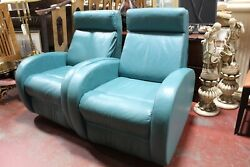 Gorman Vintage Pair Of Turquoise Leather Electric Recliner Chairs