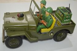 1950 Vintage Japanese Jeep Willys Army Soldiers Toy Car 13 1/2 X 6 1/4