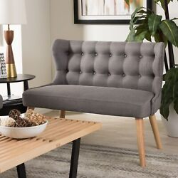 Melody Mid-century Modern Gray Tufted Fabric Wood 2-seater Loveseat Settee Bench