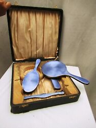 Antique Sterling Silver And Guilloche Enamel Dressing Set Vanity Set 4 Pc Old