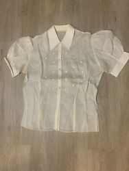 1940andrsquos Insane Balloon Sleeves Shoulders See Through Art Deco Vintage