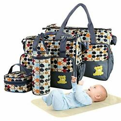 5pcs Diaper Bag Tote Set Baby Bags for Mom Easy to Fetch Items Adjustable New $44.16