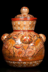Tonala Burnished Clay Pot With Naguales And Suns Signed By The Artist, Olvera.