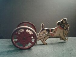 Vintage Metal And Wood Dog Pull Toy, Paper Litho On Dog, Metal Wheels W/bell