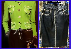 Vintage Gianni Versace Black Leather Skirt With Gold And Silver Tone Studs 38 - 2