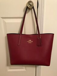 Coach Large Leather City Tote in Dark Red $142.00