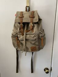 P. KU VOSL Augur Jans Backpack Canvas Military Tan Leather Straps Many Pockets $19.99