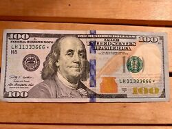 100 Dollar Bill Star Note Unique Number 11333666 2009 Very Rare