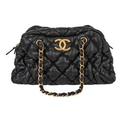 Chanel Bag Bubble Bowler Quilted Lambskin Black Gold Hardware $1975.00