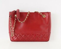 Chanel Bag Red Lambskin Tote Quilted Detail Gold Hardware $845.00