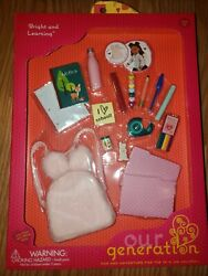 Our Generation Bright Learning School 18quot; Doll AMERICAN Girl Backpack Supplies $19.95