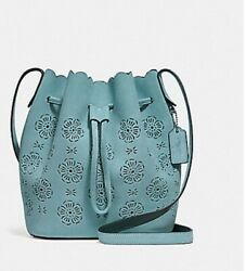 NWT Coach Bucket Bag 18 with cut out tea rose mint green handbag suede leather $125.00