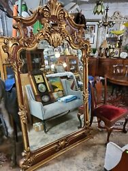 Antique Large Carved Wood Frame Mirror 81.5″ Tall – Wow