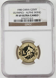 China 1980 Winter Olympics 8 Gram Gold Proof Coin Ngc Pf69 Alpine Skiing 250y