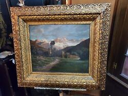 Beautiful Antique Oil Painting – Gold Gilded Frame – Wonderful All The Way Aroun