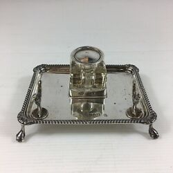 Antique 1910 Charles Boyton Solid Silver Ink Pen Stand On Class And Ball Feet