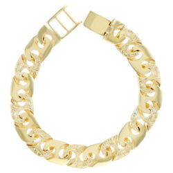 9ct Gold Solid Gent's Heavy Mariner Bracelet - 8.75 - Rrp £2220 B33_8.75_a