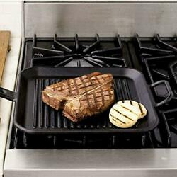 Lodge 10.5-12 Inch Square Cast Iron Grill Pan Ribbed Cast Iron Pan Dual Handles