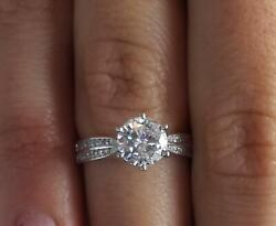 1.75 Ct Double Row Pave Round Cut Diamond Engagement Ring Vs1 H White Gold 14k