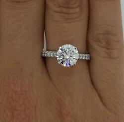 2 Ct Classic Pave 4 Prong Round Cut Diamond Engagement Ring Si2 H White Gold 14k