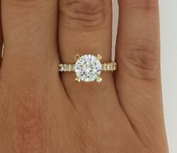 2 Ct Pave 4 Prong Round Cut Diamond Engagement Ring Si2 F Yellow Gold 14k