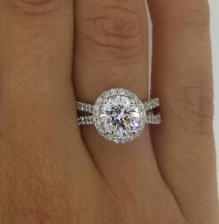 2.75 Ct Halo Double Row Round Cut Diamond Engagement Ring Si2 G White Gold 14k