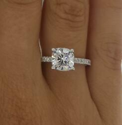 1.6 Ct Pave 4 Prong Cushion Cut Diamond Engagement Ring Si1 F White Gold 18k