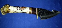Deer Stag Handle Hunting Skinner Fixed Blade Gut Hook Knife With Leather Sheath