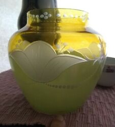 Antique Westmoreland Depression Glass Yellow Cut To Clear Pearled Tulip Vase