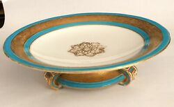 Minton Antique Porcelain Footed Compote Turquoise + Gold C1862