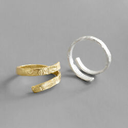925 Sterling Silver Irregular Concave-convex Paper Pattern Opening Female Ring