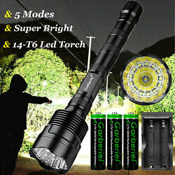 Super Bright 990000lm Led Rechargeable Flashlight Tactical 5 Modes 14-t6 Torch