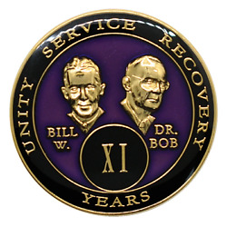 11 Year Aa Coin Founders Purple Alcoholics Anonymous Bill And Bob Sober Medallion